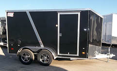 American Hauler Enclosed Aluminum Utility Trailer, Black with transition strip