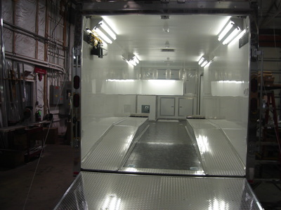 Interior shot showing lighting system available on enclosed utility trailers